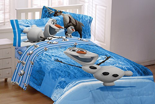 4 Piece Twin Size Olaf Bedding Set Includes 3pc Twin Sheet Set and 1 Comforter by Disney Frozen Olaf
