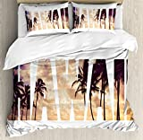 Hawaiian Duvet Cover Set King Size by Ambesonne, Tropic Silhouette Palm Trees at Sunset Cloudy Sky Hawaii Typography Skyscape, Decorative 3 Piece Bedding Set with 2 Pillow Shams, Brown Beige