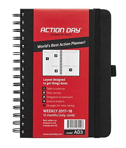 Agenda Planner Organizer (Action Day 2017-2018 – World's Best Action Planner – Action Layout That Gets Things Done - Daily / Weekly / Monthly / Yearly Agenda, Calendar, Organizer & Goal Journal (6x8)