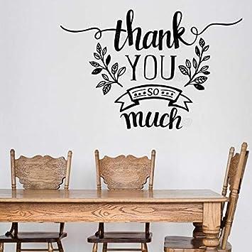 Calcomanía De Vinilo Gracias Palabras Gracias Mach Decoración Del Hogar Pegatinas De Pared Sala Comedor Arte 85X56Cm