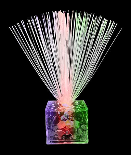 (Fun Central AC693, 6 Packs, 5.5 Inches Multicolor LED Fiber Optic Centerpiece, Light Up Centerpiece, Color Changing Fiber Optic Fountain, Night Mood Light, LED Fiber Optic Lamp for Holiday, Wedding,)