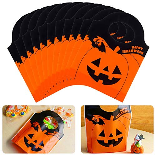 Unique Halloween Gift Bags (Alphatool 50 Pieces Halloween Candy Goody Bags- Jack-O-Lantern Orange Pumpkin Mini Plastic Party Gift Treat Bags for Halloween Party Supplies, Favors,)
