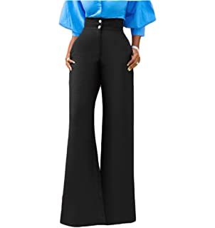 a2b37948dcb70a GUOLEZEEV Womens High Waisted Palazzo Long Pants Solid Color Wide Leg  Trousers