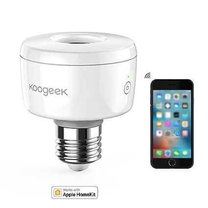 Koogeek Portalámpara E27 Apple Homekit Wifi Enchufe Portalámpara Inteligente Siri Control APP Home Control Remoto para Bombillas E27
