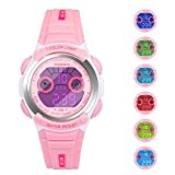 HIwatch Kids Watches Waterproof Toddler Watch Multi Coloured Lights Digital LED Children Wrist Watches Time Teacher Gift for Little Girls, Pink