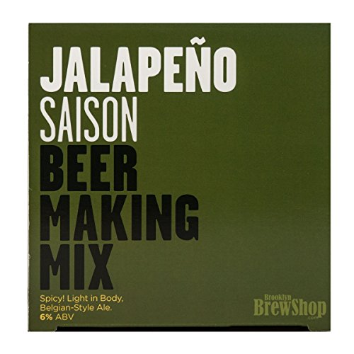 Brooklyn Brew Shop Jalapeno Saison Beer Making Mix: All-Grain Beer Making Mix Including Malted Barley, Hops And Yeast - Perfect For Brewing Craft Beer On Your Stove at Home (Jalapeno Beer)