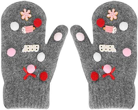 YJZQ Winter Kinder Handschuhe Warm Fausthandschuhe Fäustlinge Niedliche Dicke Doppelt Strickhandschuh mit Schnur Warm Plüsch gefüttert Thermohandschuhe für Jungen Mädchen für 2-5 Jahre alt