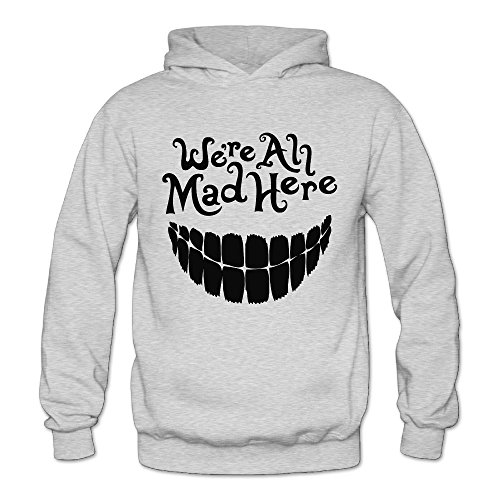 Alice In Wonderland Family Costume Ideas (MARC Women's Evil Teeth We're All Mad Here Sweatshirt Ash Size XL)
