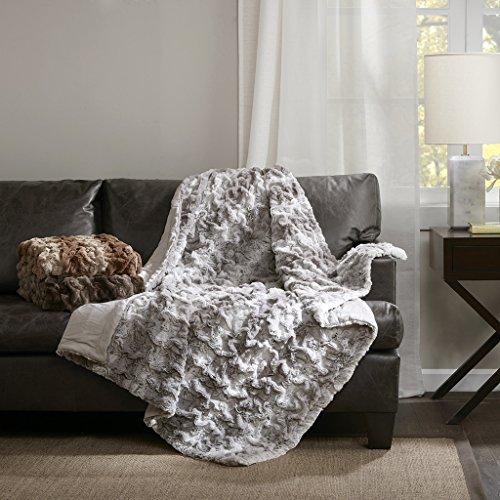 Ruched Fur Throw Chocolate Stripe (Faux Fur Stripe Blanket)