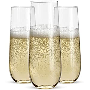 24 Stemless Plastic Champagne Flutes – 9 Oz Plastic Champagne Glasses | Clear Plastic Unbreakable Toasting Glasses |Shatterproof | Disposable | Reusable Perfect For Wedding Or Party