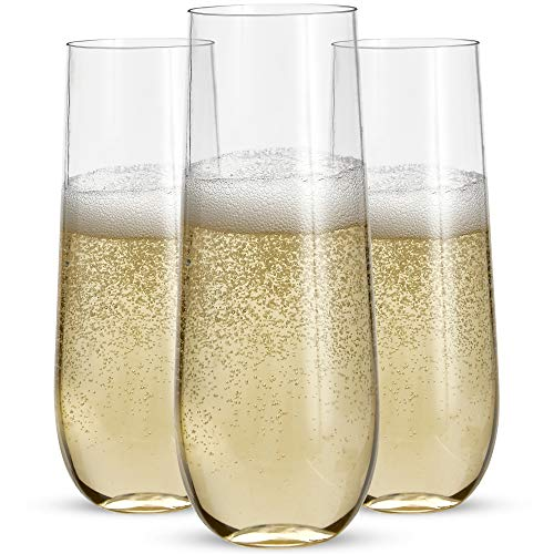 36 Stemless Plastic Champagne Flutes - 9 Oz Plastic Champagne Glasses | Clear Plastic Unbreakable Toasting Glasses |Shatterproof | Disposable | Reusable Perfect For Wedding Or