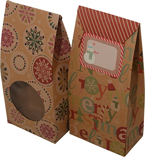 Christmas cookie tent boxes; foldable with matching stickers; set of 12 - Holiday Cookie Box