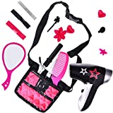 FUN LITTLE TOYS Pretend Makeup for Girls, Pretend Play Cosmetic Kit for Kids Toddlers, Pink Beauty Salon Toy Set with Bag