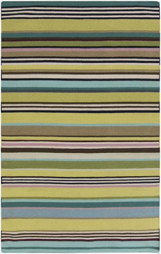 8' x 11' Rayas Del Mar Teal Blue and Sandy Brown Hand Woven Wool Area Throw Rug