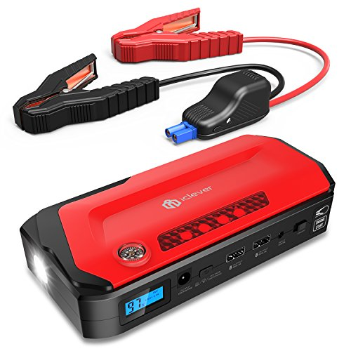 IClever 600A Peak 18000mAh Portable Jump Starter (up To 6.5L Gas Or 4.0L Diesel Engine) Auto Battery Booster, Power Bank Phone Charger With Dual USB Ports, Car Charger And AC Adapter