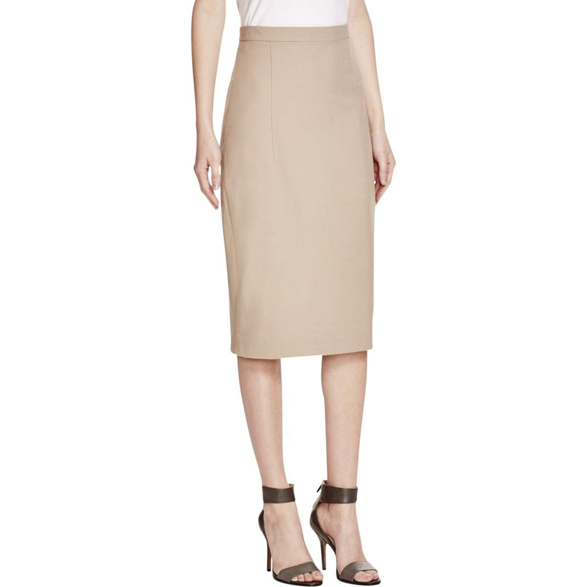 Theory Womens Pleated Slit Pencil Skirt Tan 6