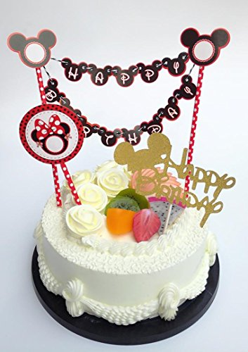 Sweet Heart Birthday Cake Topper Happy Letter With Minnie Mickey Mouse Ear