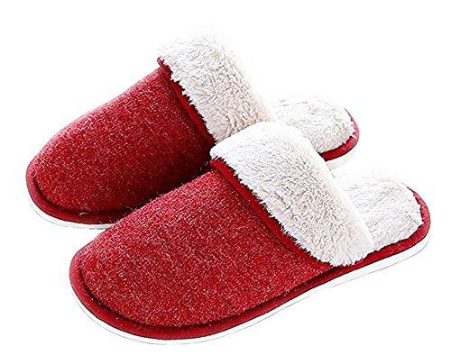 Surblue - Zapatillas de estar por casa para mujer rojo vino
