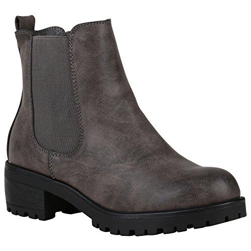 Stiefelparadies Damen Chelsea Boots Plateau Stiefeletten Profilsohle Schuhe Velours Metallic Booties Knöchelhohe Stiefel Blockabsatz Plateauschuhe Flandell Grau Agueda