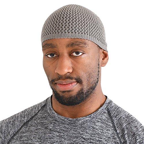 CHARM Silk Kufi Hat for Men - Stretchy Skull Beanie Cap Handmade in Japan Snug Brain Dad Hat Gray -