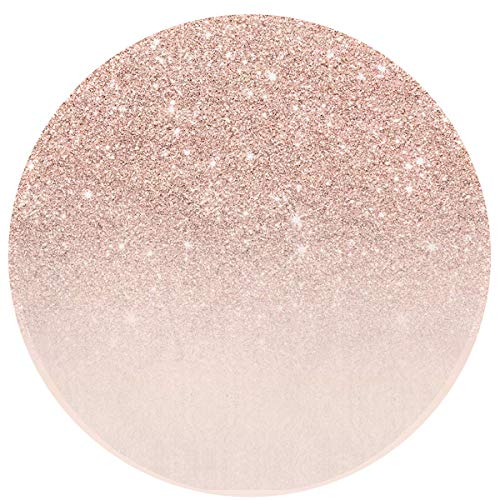 HomMashic Round Area Rug Waterproof Skid Resistance Bath Mat Indoor Outdoor Floor Mat Doormats(60CM)-Rose Gold Faux Glitter Pink Ombre Color Block