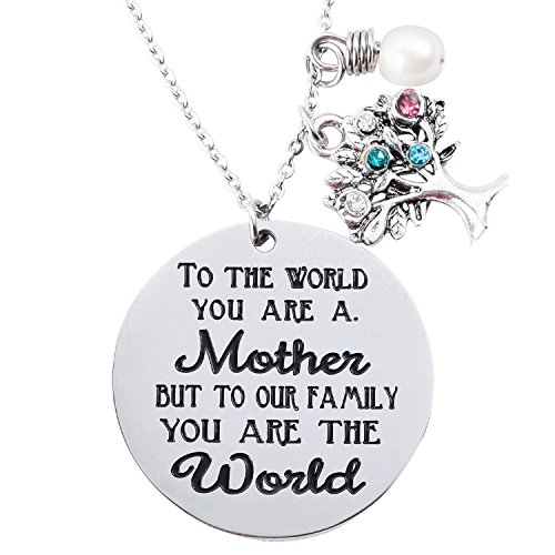 ELOI Family Tree Necklace With Birthstone Stainless Steel Pendant for Mom Grandmother Mother's Day Gift