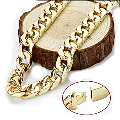 Gold chain necklace 14mm 24Karat Diamond Cut Smooth Cuban Link With A Warranty Of A LifeTIime. USA made! by Swag Collection La