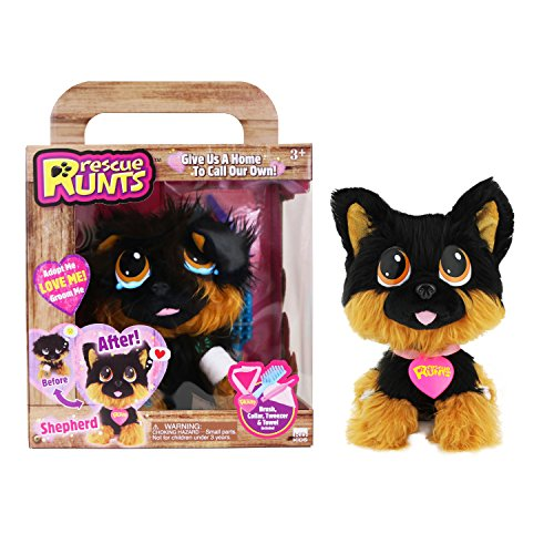 Fur Shepherd - Rescue Runts Shepherd Plush Dog, Black/Brown