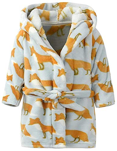 Ameyda Kids Pajamas Sleepwear Flannel Hooded Bathrobe With All Over Print Fox Color,160 ()