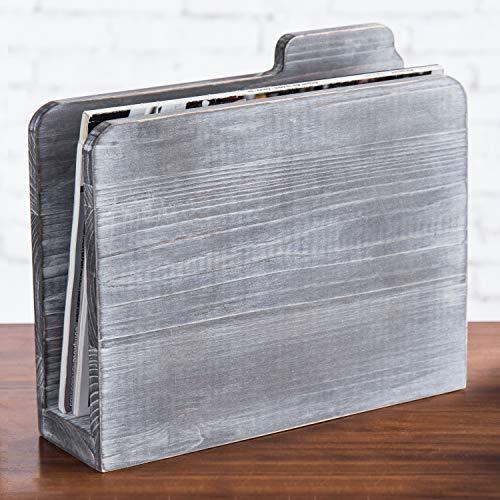 Rustic Graywashed Wooden Folder-Shaped Magazine Holder, Free Standing Desktop File Sorter