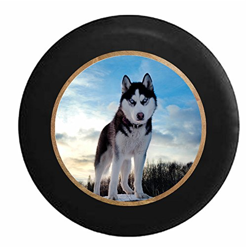 Pike Outdoors Full Color Blue Eyed Husky American Dog K9 Wolf Jeep RV Camper Spare Tire Cover Black 30 in