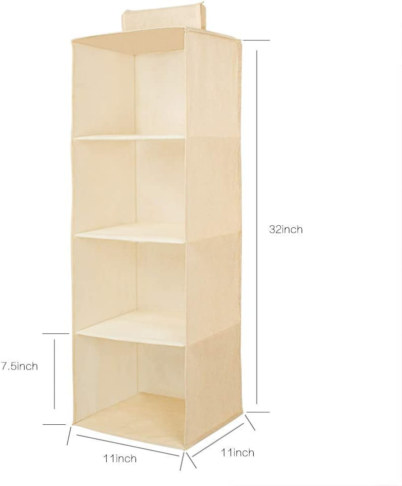 JiatuA Aufbewahrungsbox 2er Set Beige Faltbare Aufbewahrungskiste ohne Deckel f/ür B/üro Kinderzimmer Schlafzimmer Schrank