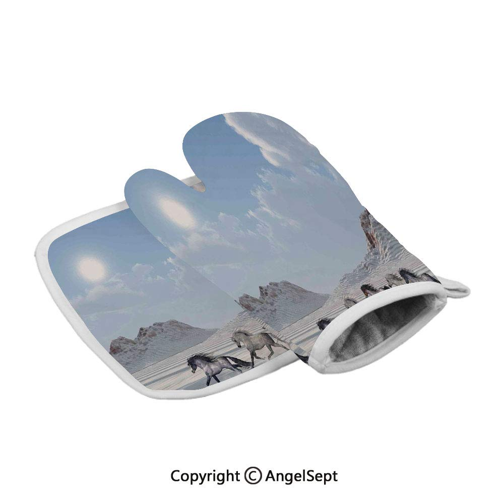 Herd of Wild Noble Horses Run in The Snows of a Fresh Winter Day Glorious Picture,Polyster Oven Mitts+Insulated Square Mat,Blue White,Heat Resistant Kitchen Gloves