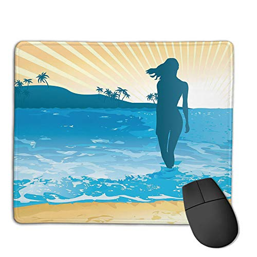 (Mouse Pad Non-Slip Thick Rubber Large MousepadBeach,Summer Vibes Girl Near The Sea Shore Ocean Palms Waves Sunny Art Print,Sky Blue Cream Slate Blue,Suitable for Notebook Desktop Computers,Mouse Pad)