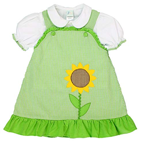 (Petit Ami Baby Girls' Dress with Sunflower Applique, 18 Months, Green)
