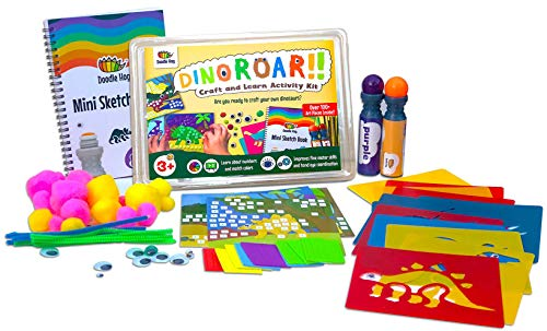 Dinosaur Arts and Crafts Kit Supplies for Kids amp Preschooler includes: Dab amp Dot Markers Stencils Mosaic Sketch Book Pom Poms Googly Eyes amp Pipe Cleaners A Busy Box of Activities Over 100 Pieces