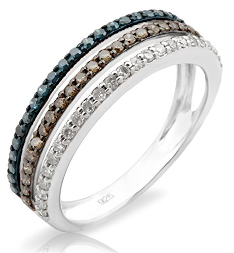 Brand New 0.53Ct Natural Brown, Blue & White Diamond 3 Row Eternity Ring, 14k White Gold, Size 14.5 by Prism Jewel