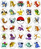 30 x Edible Cupcake Toppers – Pokemon Fun Party Collection of Edible Cake Decorations | Uncut Edible Prints on Wafer Sheet