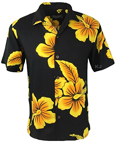 Favant Tropical Luau Beach Hibiscus Floral Print Men's Hawaiian Aloha Shirt (Medium, Black/Yellow) (Aloha Shirt Tiki)