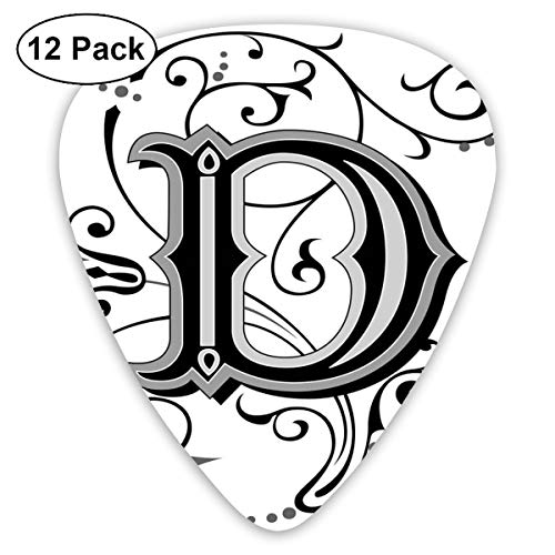 (Celluloid Guitar Picks - 12 Pack,Abstract Art Colorful Designs,Initial Letter From Medieval Scrolls Capital D Symbol Medieval Design Print,For Bass Electric & Acoustic Guitars.)
