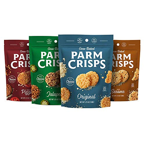 ParmCrisps Variety Pack (Original, Jalapeno, Sesame, Pizza), 100% Cheese Crisps, Keto Friendly, Gluten Free, 1.75oz Bag, 4 Pack