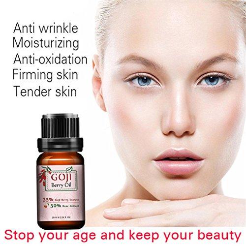 Hometom Goji Berry Oil, Face Lift Vitamin Liquid whitening Moisture Anti Aging Repair Skin Supplement (Brown)