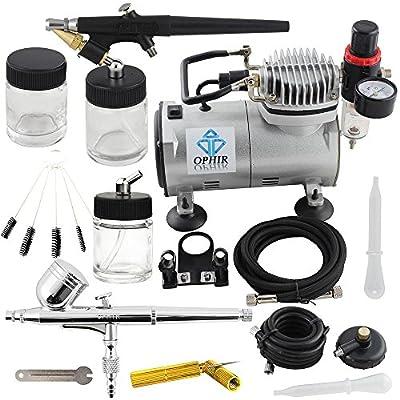 OPHIR 2PCS Airbrush Kits 110V PRO Air Compressor & Cleaning Tools for Model Car Paint Nail Art Airrbushing