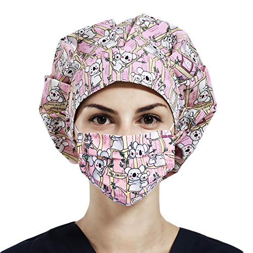 Women Surgical Scrub Caps & Cotton Face Mask Set, Bouffant Hats Elastic Head Covers with Sweatband for Medical Doctor