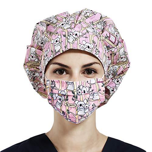 Women Working Cap with Sweatband, Bouffant Hats Elastic Head Covers for Women Men