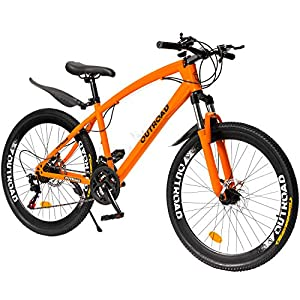 Outroad Mountain Bike 26 inch Wheel 21 Speed with High Carbon Steel Frame Double Disc Brake Suspension Anti-Slip Bicycle, Black or Orange