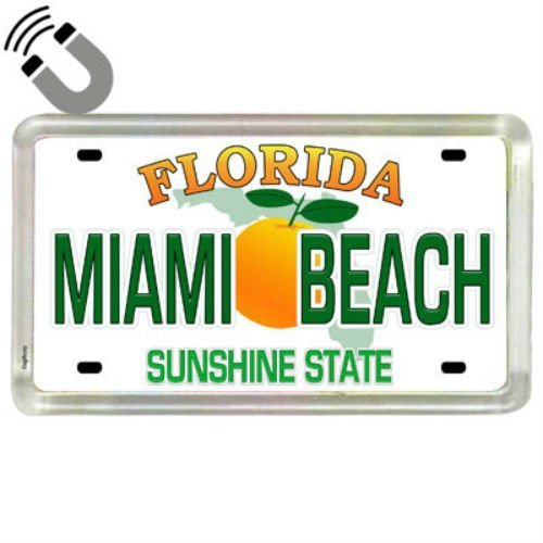 Miami Beach Florida License Plate Acrylic Small Fridge Collector's Souvenir Magnet 2