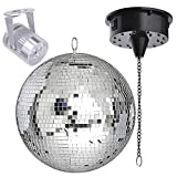 12'' Mirror Disco Ball DJ Stage Party LED Light Rotating Motor 3W Spotlight Kit (Cool White)