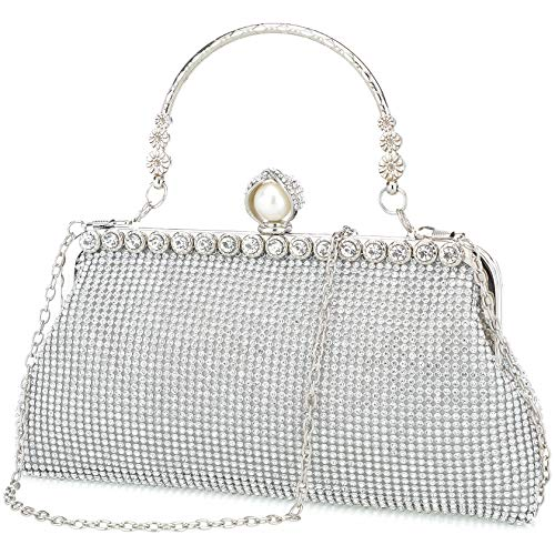 Silver clutch purses for women evening bags and clutches for women evening bag purses and handbags evening clutch purs(Silver) ()