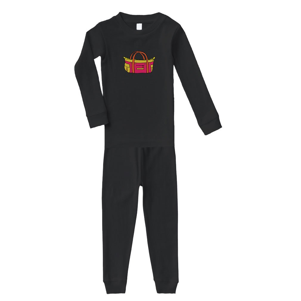 Purse Pink Brown Cotton Long Sleeve Crewneck Unisex Infant Sleepwear Pajama 2 Pcs Set Top and Pant - Black, 24 Months